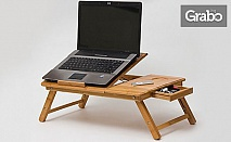 Бамбукова масичка за лаптоп с охладител
