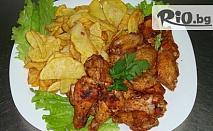 """Хапване за двама! Пилешки крилца на скара (1000 гр.), плюс пържени картофки (500 гр.) само за 5.90 лв. в новооткритият ресторант """"Тепето"""""""